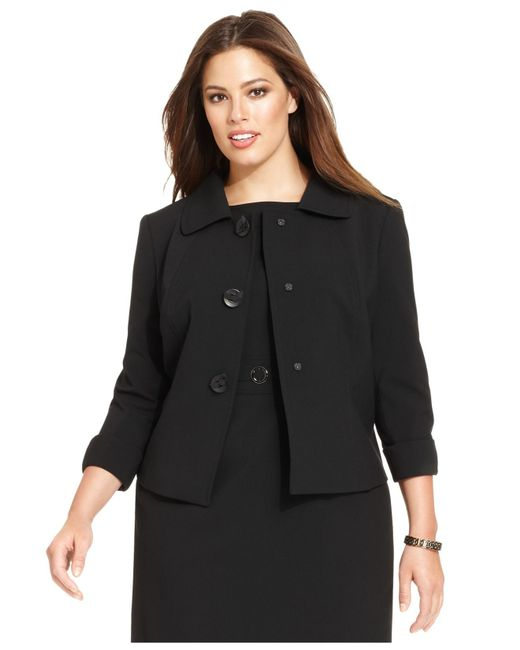 Tahari | Black Plus Size Three-button Three-quarter-sleeve Jacket | Lyst