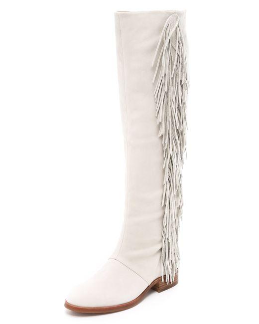 Sam Edelman | White Josephine Fringe Boots | Lyst