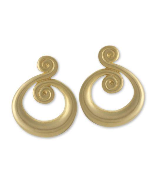 Kenneth Jay Lane | Metallic Satin Gold Swirl Clip Earring | Lyst