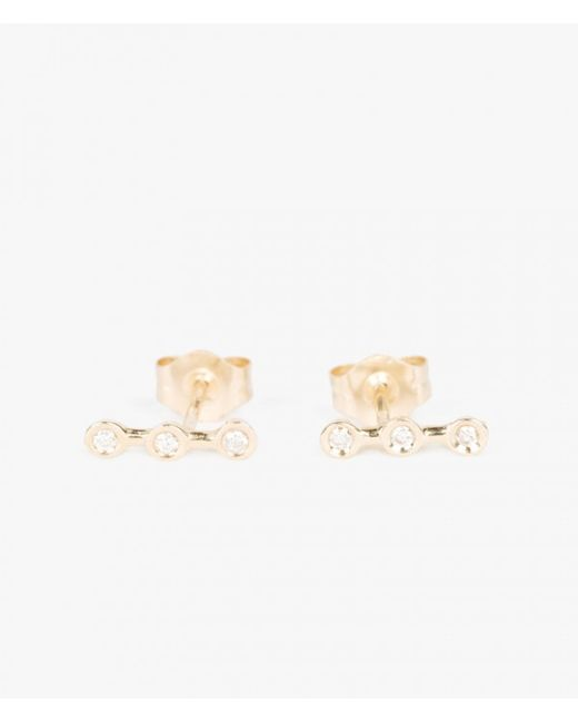 Ariel Gordon | Metallic Mini Diamond Horizon Studs | Lyst