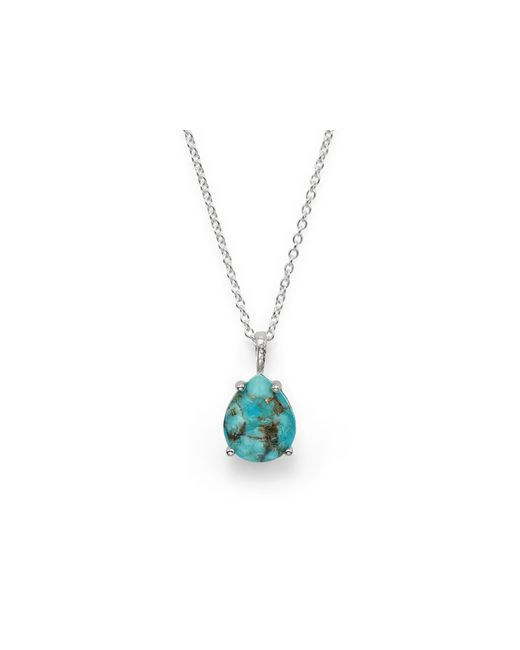 Ippolita | Blue Sterling Silver Rock Candy Pear Shape Necklace In Clear Quartz And Bronze Turquoise, 16"