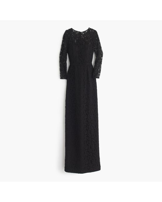 J.Crew | Black Selina Long Dress In Leavers Lace | Lyst