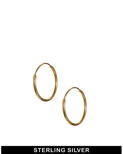 ASOS | Metallic Gold Plated Sterling Silver 9mm Hoop Earrings | Lyst