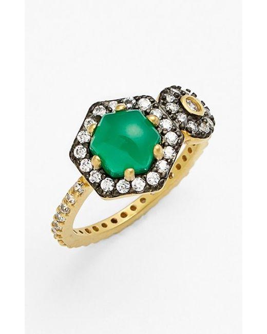 Freida Rothman | Green 'metropolitan' Stone Two-tone Ring | Lyst