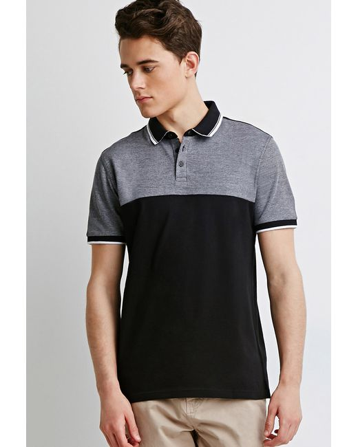 Forever 21 | Black Colorblocked Piqué Polo for Men | Lyst