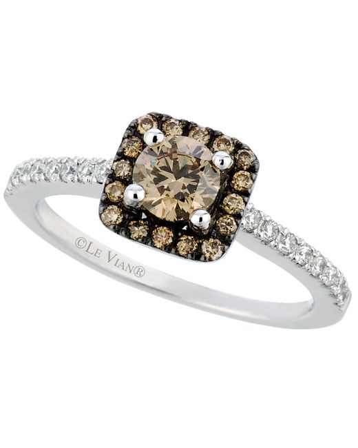 Le Vian | Brown Chocolate And White Diamond Ring In 14k White Gold (3/4 Ct. T.w.) | Lyst