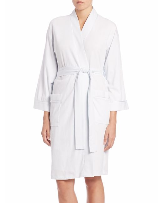 Saks fifth avenue pima cotton jersey robe in blue lyst for Saks 5th avenue robes de mariage