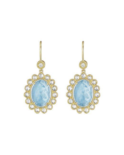 Penny Preville | Blue 18k Oval Aquamarine & Diamond Drop Earrings | Lyst