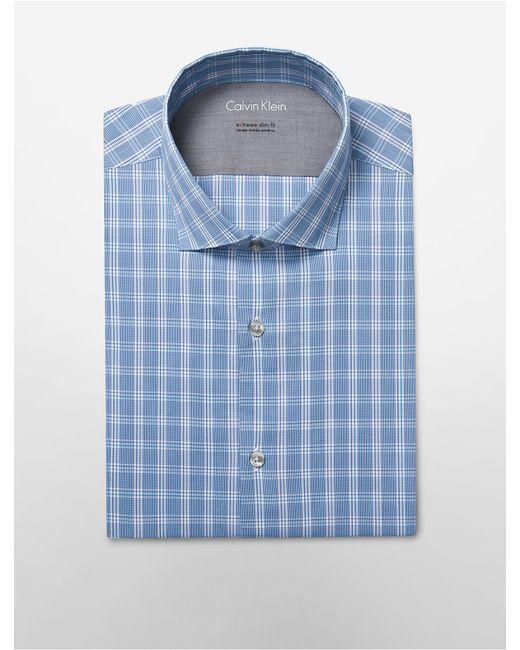 Calvin klein white label x fit ultra slim fit bright blue for Calvin klein x fit dress shirt