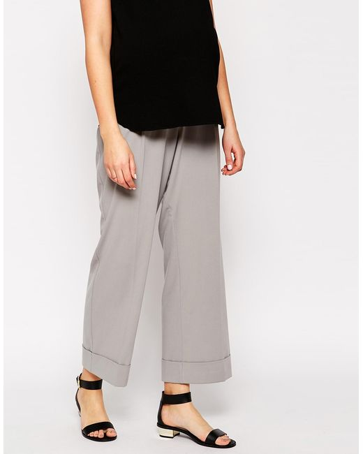 ASOS | Beige Wide Leg Pant With Turn Up | Lyst