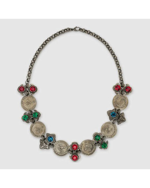 Gucci Necklace With Coins And Crystals in Beige (aged ...