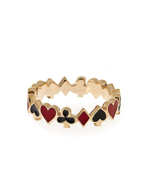 Alison Lou | Multicolor Enamel & Yellow-gold Mixed Suit Ring | Lyst