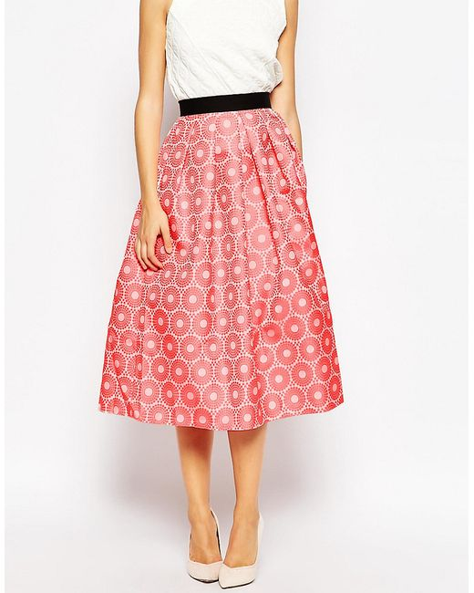 closet pleat waist midi skirt in orange save 50 lyst