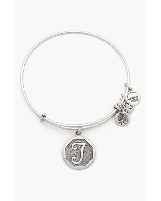 Alex and ani initial adjustable wire bangle in metallic lyst