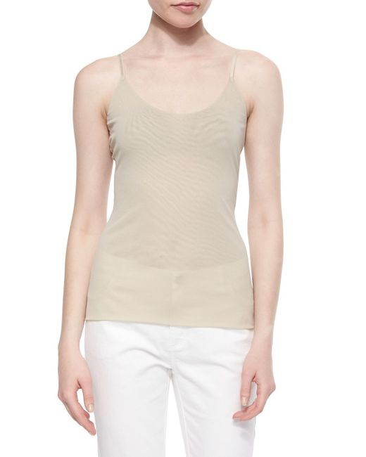 Lafayette 148 New York | Natural V-neck Jersey Tank Top | Lyst
