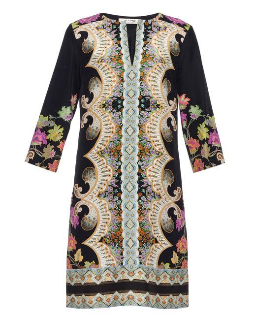Etro | Multicolor Paisley-Print Silk Tunic Dress | Lyst
