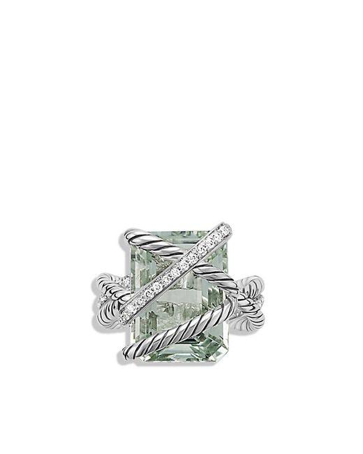 David Yurman   Metallic Cable Wrap Ring With Prasiolite And Diamonds   Lyst