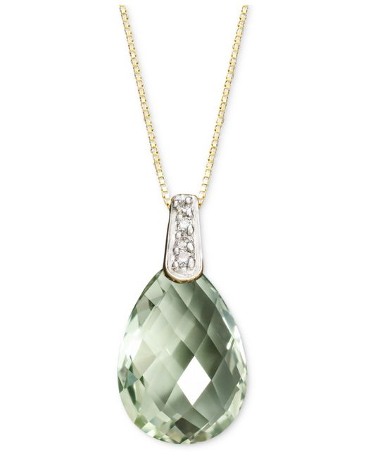 Macy's | Metallic 14k Gold Necklace, Green Amethyst (4-3/4 Ct. T.w.) And Diamond Accent Brio Drop Pendant | Lyst