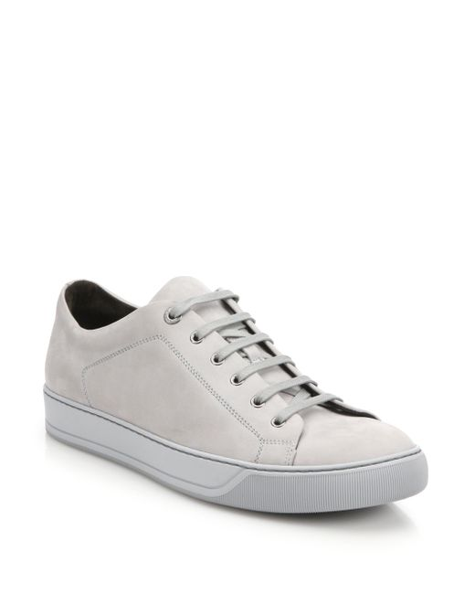 Lanvin | Gray Nubuck-Leather Low-Top Sneakers for Men | Lyst