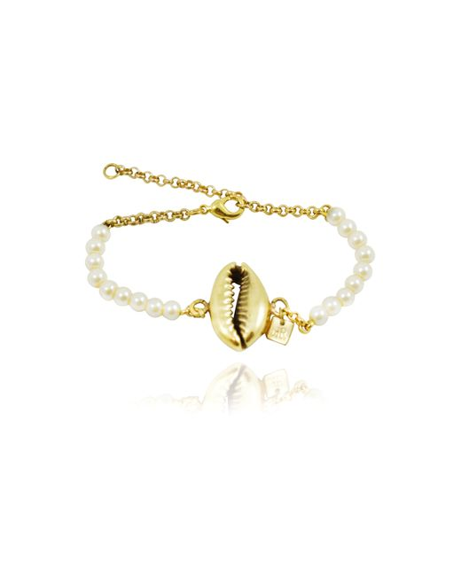Rachael Ruddick | Metallic Shell Beaded Bracelet In Pearl | Lyst