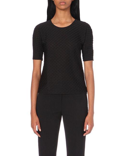 Armani | Wave-knit Jersey Top, Women's, Size: 8, Black | Lyst