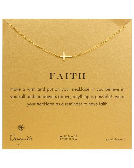 Dogeared   Metallic Gold Plated Faith Sideways Cross Necklace   Lyst