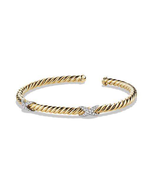 David Yurman | Metallic X Double Station Bracelet With Diamonds In Gold | Lyst