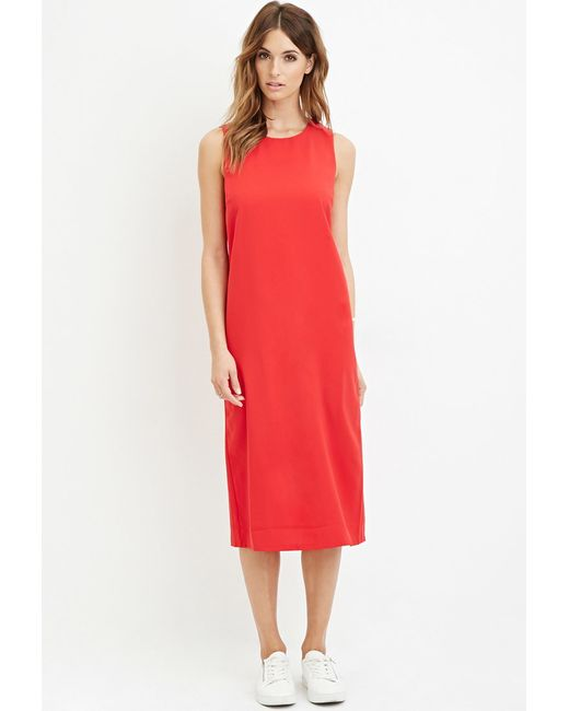 Forever 21 | Red Midi Shift Dress | Lyst