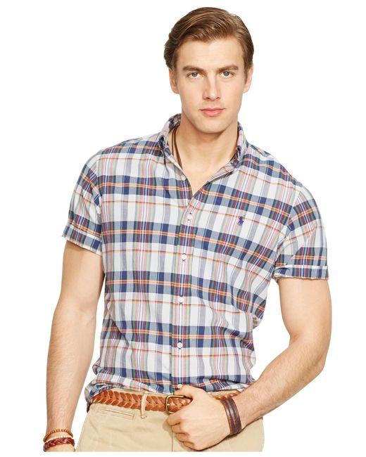 Polo ralph lauren men 39 s short sleeved madras shirt in blue for Mens madras shirt sale