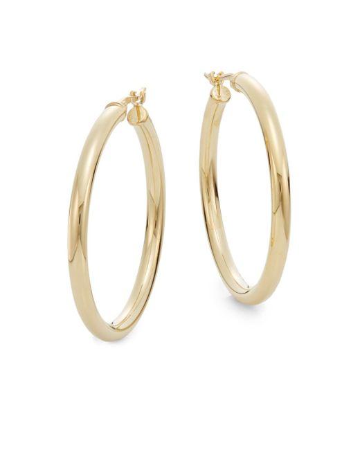 """Saks Fifth Avenue   Metallic 14k Yellow Gold Hoop Earrings/1.2""""   Lyst"""