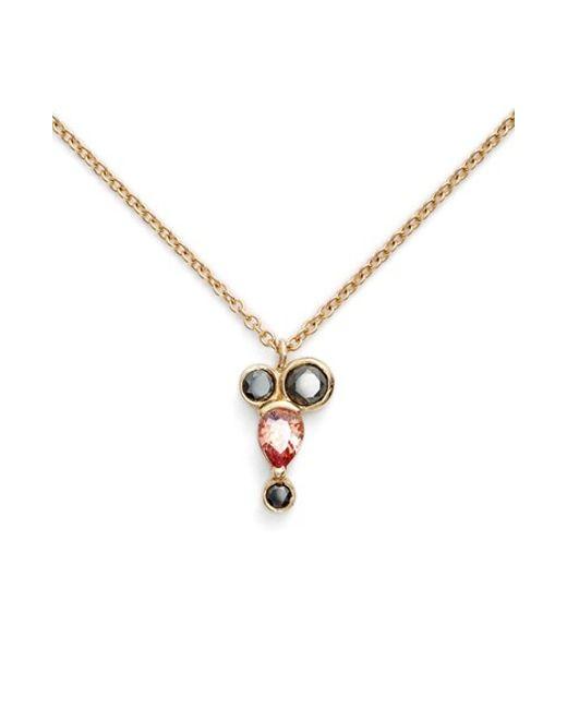 Mociun | Multicolor Peach Sapphire & Black Diamond Necklace (nordstrom Exclusive) | Lyst