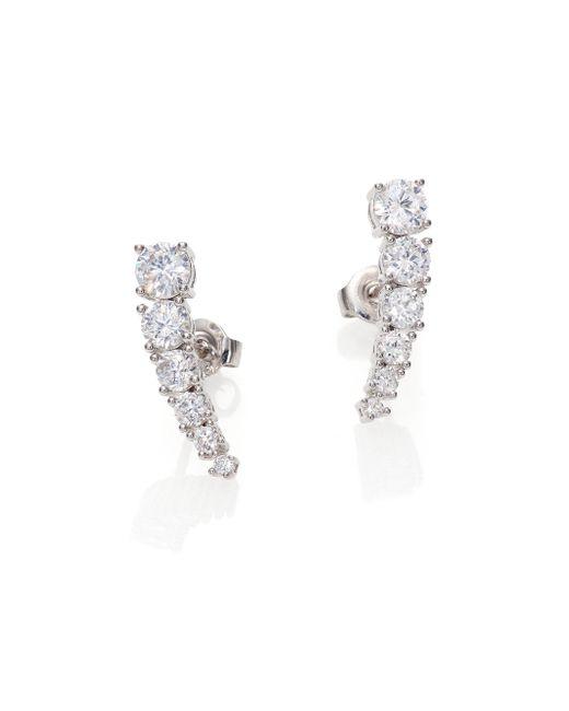 Adriana Orsini | Metallic Sterling Silver Brilliant-cut Bar Earrings | Lyst