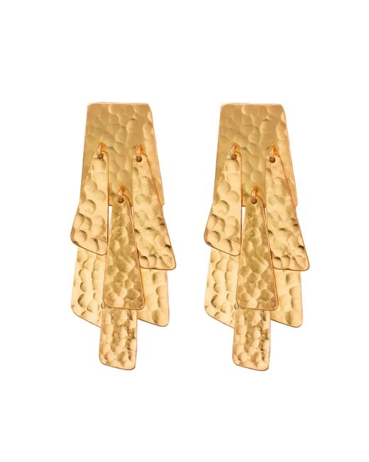 Natori | Metallic Hammered Gold Waterfall Earrings | Lyst