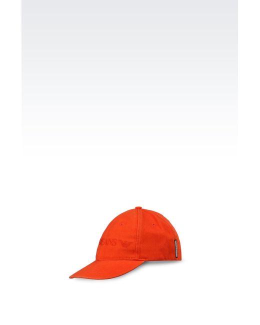 Armani Jeans | Orange Cotton Baseball Cap With Logo for Men | Lyst