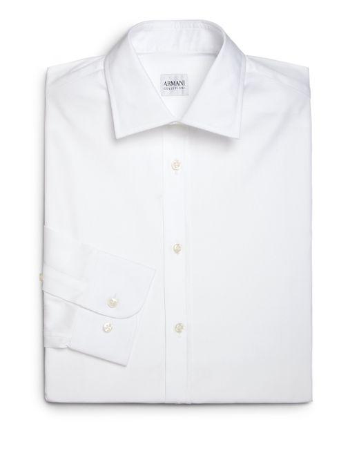 Armani modern fit cotton dress shirt in white for men lyst for Modern fit dress shirt