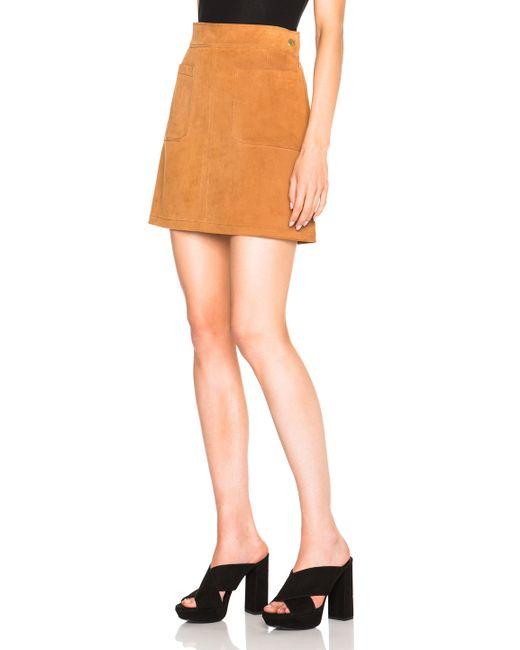 frame suede high a line skirt in brown neutrals brown