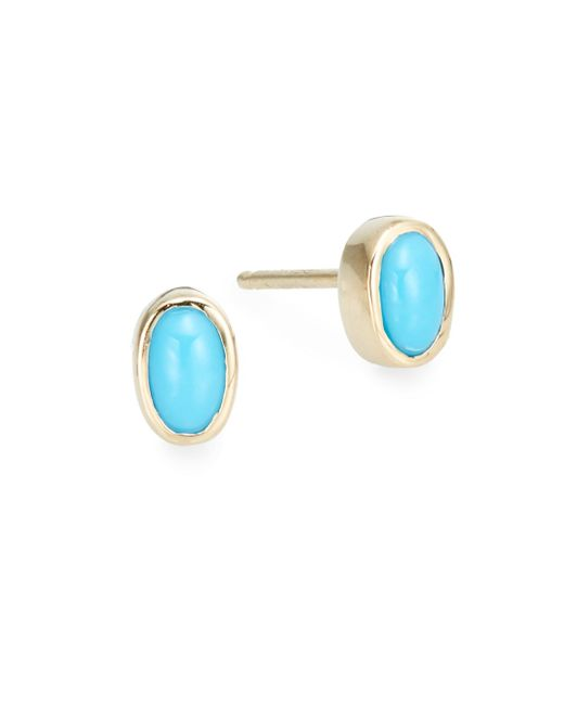Anzie | Blue Classique Turquoise & 14k Yellow Gold Stud Earrings | Lyst