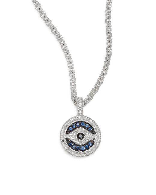 Judith Ripka | Metallic Lucky Blue, White & Black Sapphire Evil Eye Small Pendant Necklace | Lyst