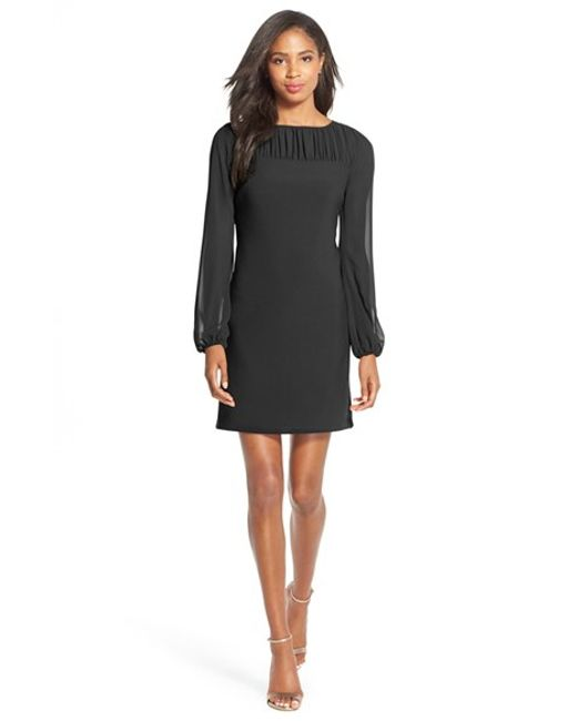 Taylor Dresses | Black Ruched Chiffon A-line Dress | Lyst