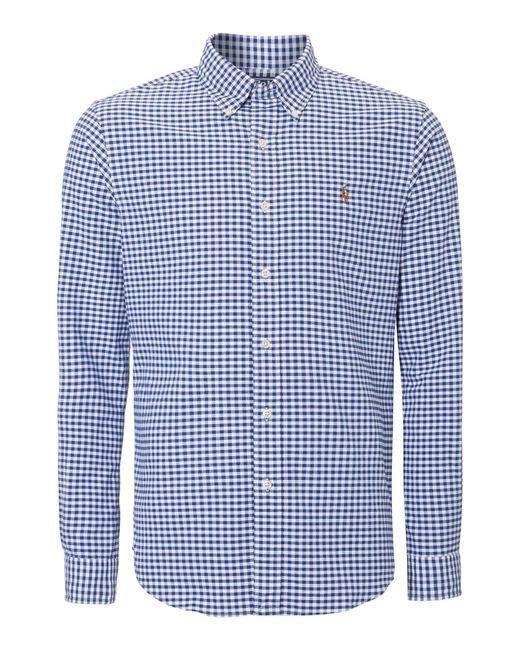 Polo Ralph Lauren   White Custom Fit Gingham Long Sleeve Shirt for Men   Lyst