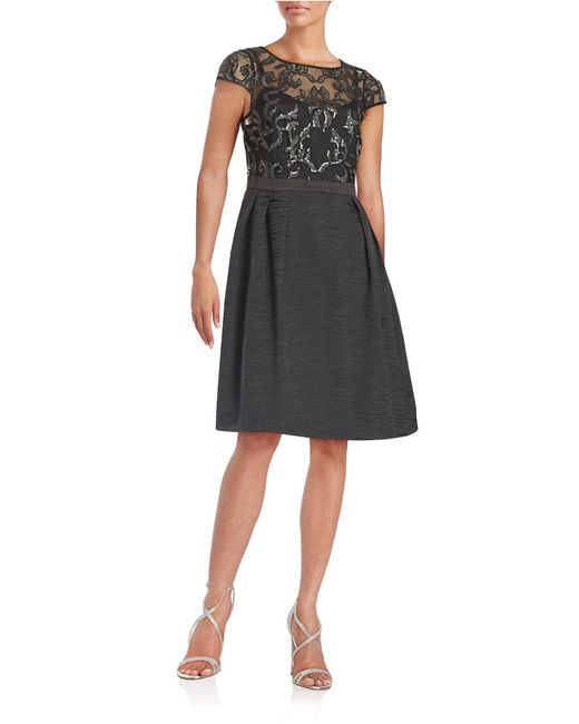 Adrianna Papell | Black Sequined Floral Fit-and-flare Dress | Lyst