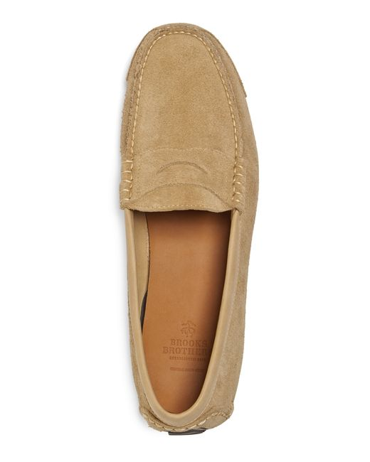Brooks Brothers | Natural Horween Suede Penny Driving Moccasins for Men | Lyst