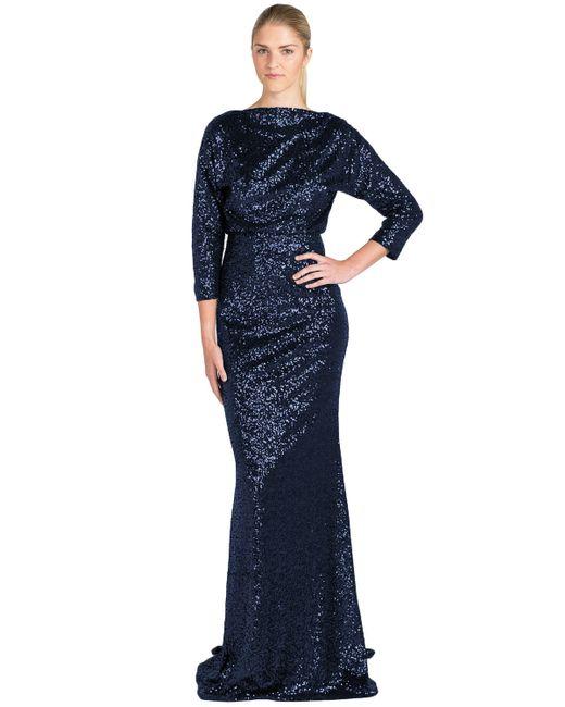 Badgley Mischka | Blue Sequinned Blouson Gown | Lyst