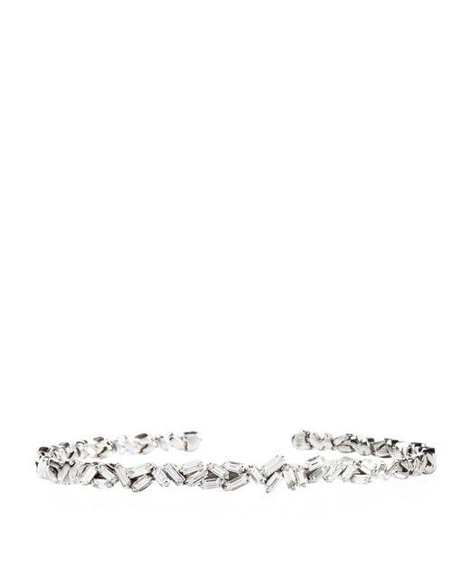 Suzanne Kalan | Metallic White Gold Diamond Bangle | Lyst