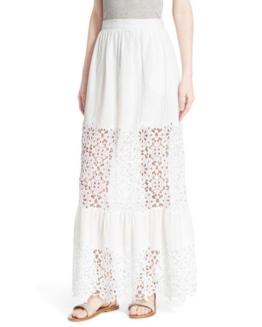 sea snowflake cotton linen maxi skirt in white save