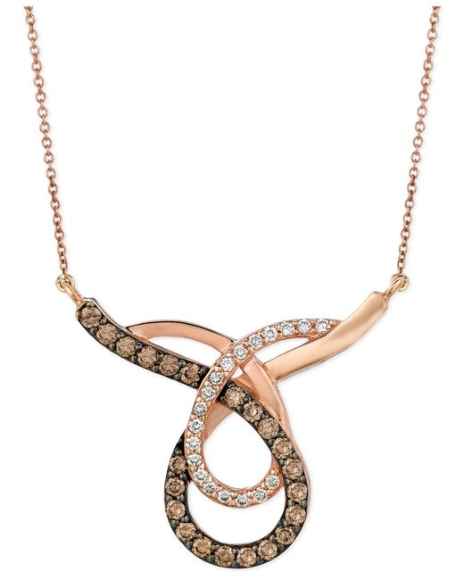 Le Vian | Metallic Chocolate (3/4 Ct. T.w.) And White (1/4 Ct. T.w.) Loop Pendant Necklace In 14k Rose Gold | Lyst