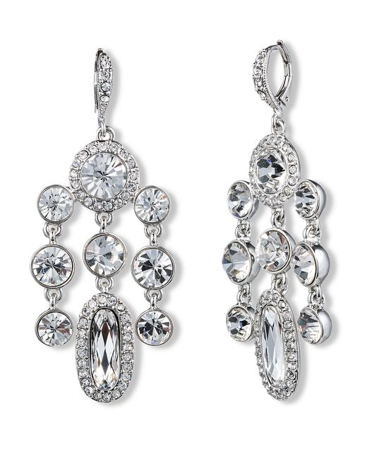 Red Givenchy Chandelier Earrings: Givenchy Crystal Cluster Chandelier Earrings In Metallic