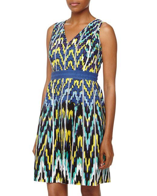 Donna Morgan Sleeveless Vneck Mosaic Dress In Multicolor
