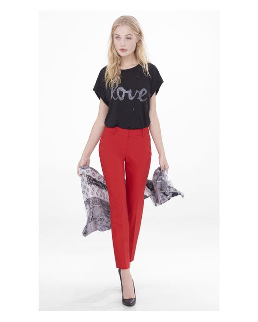 Express | Red Low Rise Editor Ankle Pant | Lyst