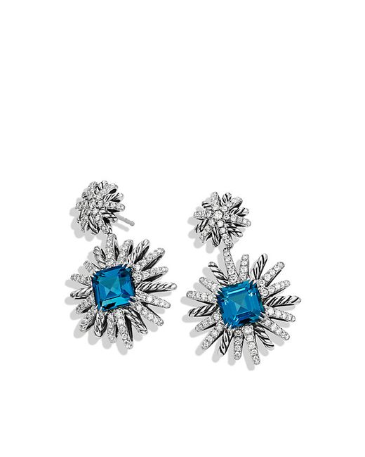 David Yurman | Starburst Earrings With Diamonds And Hampton Blue Topaz In Silver | Lyst